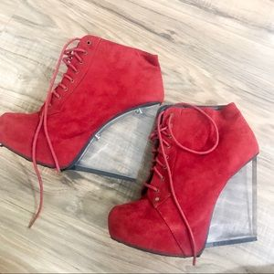 FINAL DROP Wild Diva clear red platforms worn once